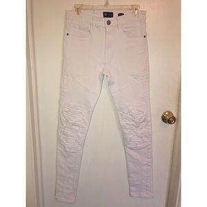 Distressed Moto Skinny Jeans